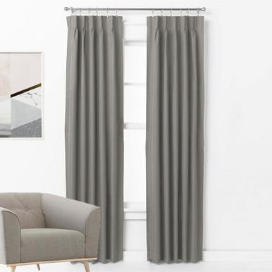 ASPEN Textured 100% Blockout Pinch Pleat Curtains GREY | New | 4 Sizes
