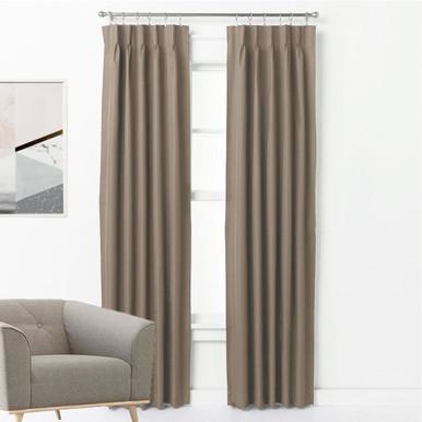 ASPEN Textured 100% Blockout Pinch Pleat Curtains MOCHA | New | 4 Sizes