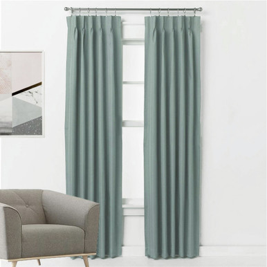 ASPEN Textured 100% Blockout Pinch Pleat Curtains TEAL BLUE | New | 4 Sizes