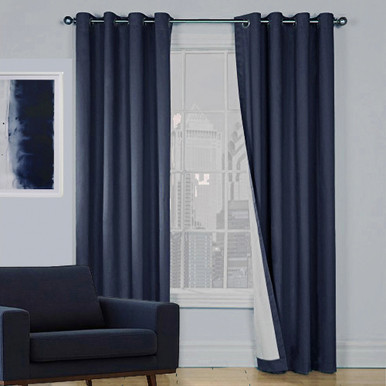 Eyelet Curtains | Thermal Blue Blockout Curtains | Quickfit