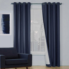 SOHO 100% BLOCKOUT EYELET CURTAIN INK NAVY | 4 Sizes!