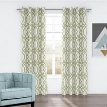 Linda Jacquard Eyelet Curtain Green | Green