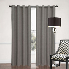 SORRENTO 100% BLOCKOUT EYELET CURTAIN CHARCOAL GREY 140cm x 230cm