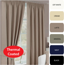 CANTINA Thermal Pencil Pleat Curtains Modern Leaf Jacquard 140cm - 220cm x 213cm