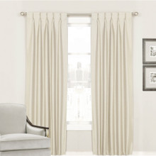 Villa Pinch Pleat Curtains Shantung Faux Silk Look Ivory