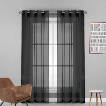 Black Sheer Eyelet Curtain Cotton Look | New