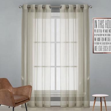 Natural Sheer Eyelet Curtain Cotton Look   New