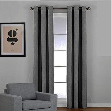 WESTWOOD Blockout Eyelet Curtain Panel CHARCOAL