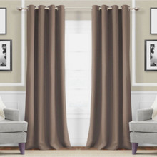 Metro Thermal Weave Soft Drape Eyelet Curtain Panel MOCHA | New!