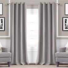 Metro Thermal Weave Soft Drape Eyelet Curtain Panel  GREY
