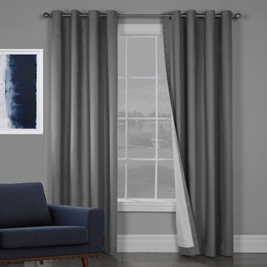 100% BLOCKOUT EYELET CURTAIN CHARCOAL