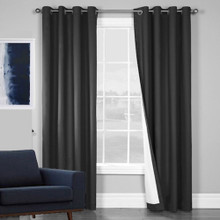 100% BLOCKOUT EYELET CURTAIN BLACK