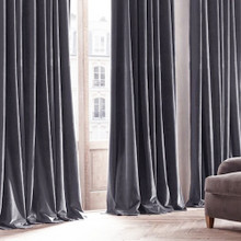 Velvet Custom Made 100% Blockout Curtain Lead Grey | New