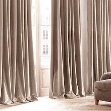 Velvet Custom Made 100% Blockout Curtain Beige | New