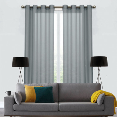COTTON LOOK Voile soft drape sheer eyelet curtain panel Grey | 2 Sizes