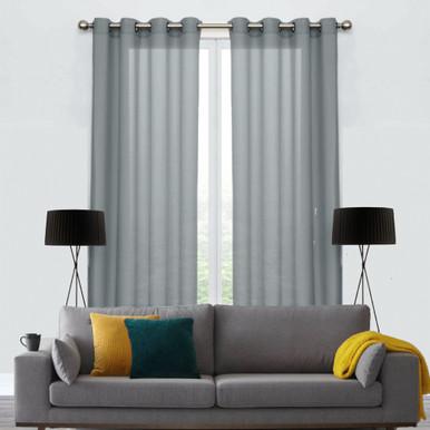 250cm Drop COTTON LOOK Voile soft drape sheer eyelet curtain panel Grey | 2 Sizes