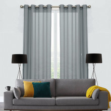 250cm Drop COTTON LOOK Voile soft drape sheer eyelet curtain panel Grey | 2 Sizes