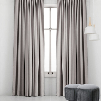 Simplicity: SILVER GREY Pitch Black Blockout Custom Curtain