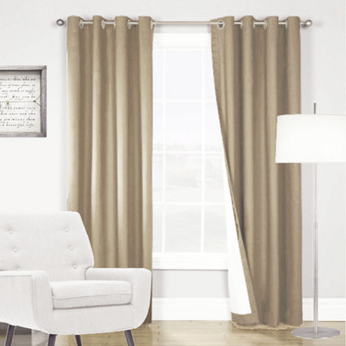 ARIZONA BLOCKOUT EYELET CURTAINS LATTE 8 Pack