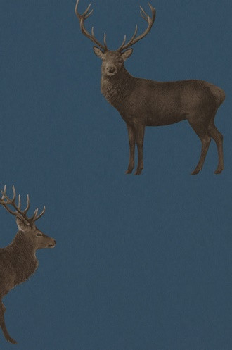 Evesham Deer Wallpaper in Indigo (double roll)