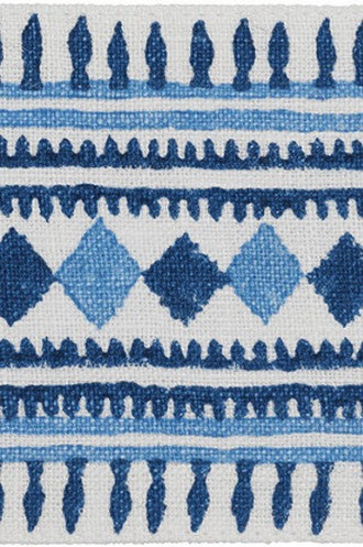 Toula Hand Blocked Linen Tape in Blues
