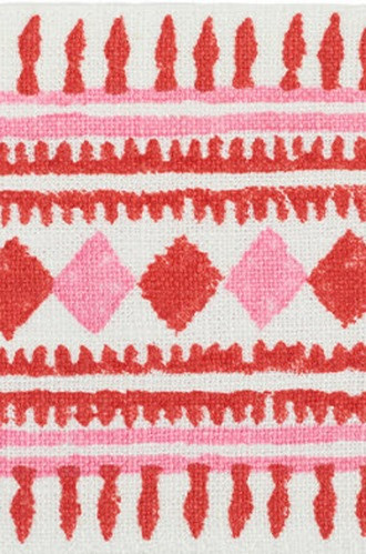 Toula Hand Blocked Linen Tape in Red and Pink