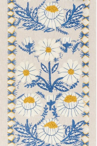 Marguerite Embroidery in Blue and Ochre