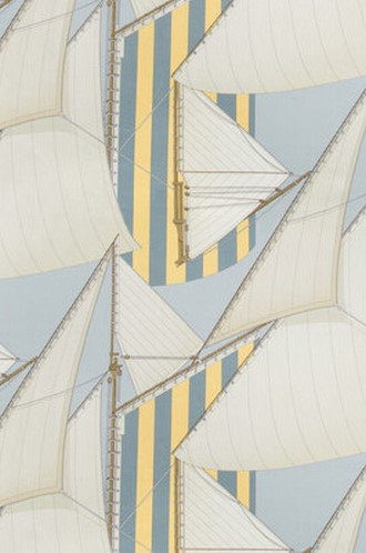 St Tropez Fabric in Blue Yellow