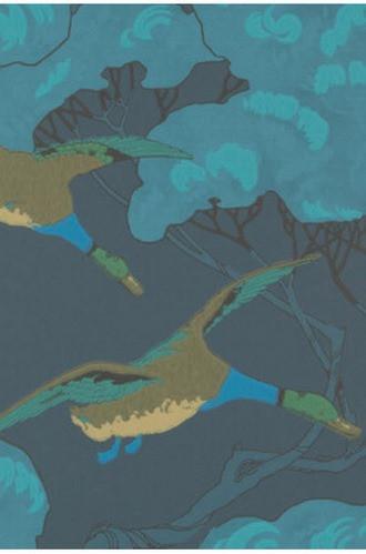 Flying Ducks Wallpaper in Indigo