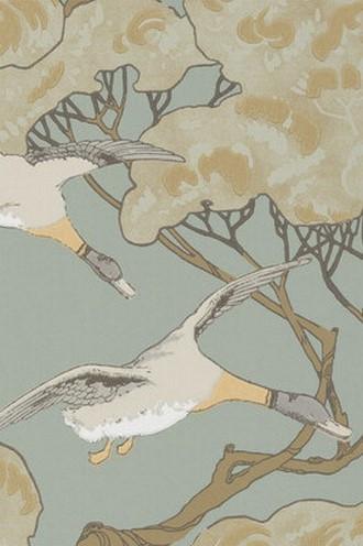 Flying Ducks Wallpaper Slate Blue