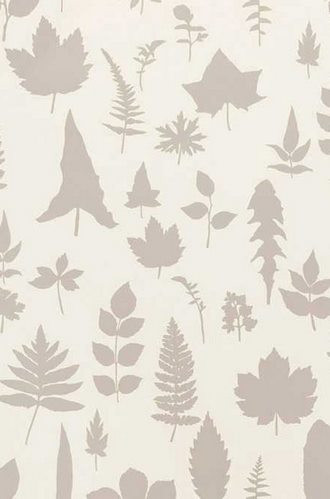 Leaves Wallpaper in Platinum  (Extra Wide)