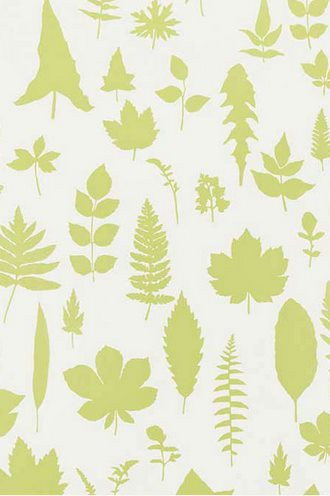 Leaves Wallpaper in Chartreuse  (Extra Wide)