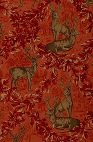 Woburn Meadow Fabric in Red (Schumacher)