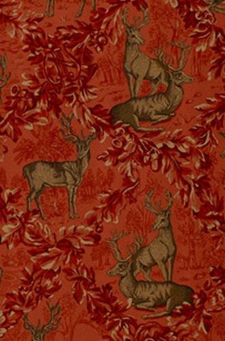 Woburn Meadow Fabric in Red (Schumacher)