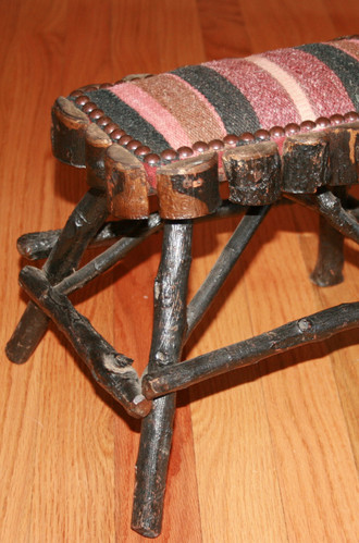 Beautifully Upholstered Adirondack Twig Foot-Stool