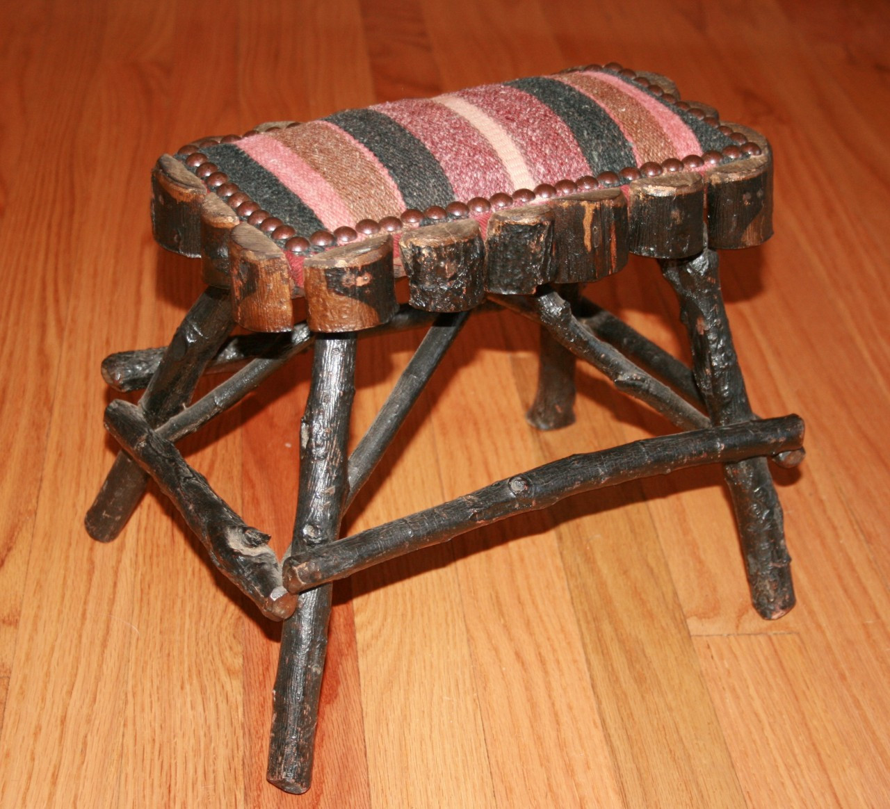 Wondrous Beautifully Upholstered Adirondack Twig Foot Stool Andrewgaddart Wooden Chair Designs For Living Room Andrewgaddartcom