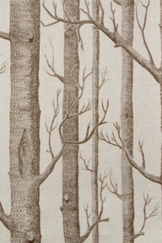 Rustic Fabric For Cabins Bare Trees In Winter Brown Or