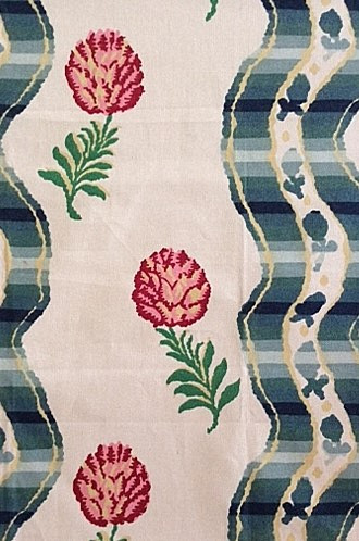 Grilly Cotton Print Fabric in Cream (Brunschwig & Fils)