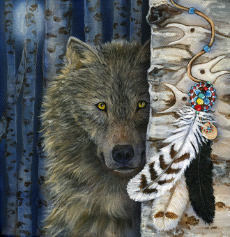 "Cathy McClelland's Painting ""Wolf Medicine"""