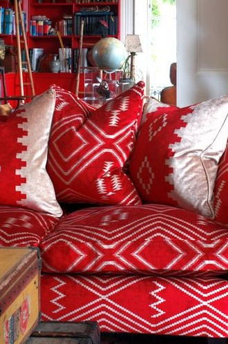 Rustic Fabric For Cabins Navajo In Red By Andrew Martin