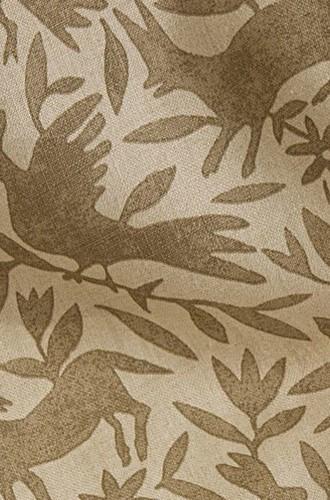 Flora & Fauna Linen Fabric in Mushroom (Kerry Joyce)