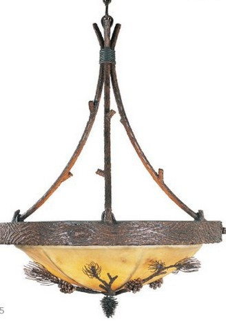 Log and Timber Pine Cone Chandelier