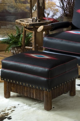Cody Ottoman with Thomas Molesworth Chimayo Leather Upholstery