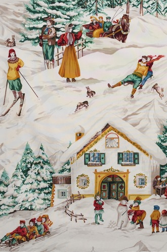 Rustic Fabric For Cabins Pierre Frey Classic Skiing Scene