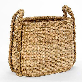 Oval Sweater-Weave Fireside Basket