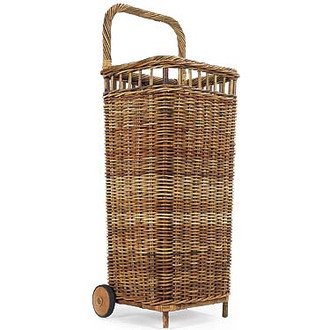 Farmers Market Wicker Basket On Wheels