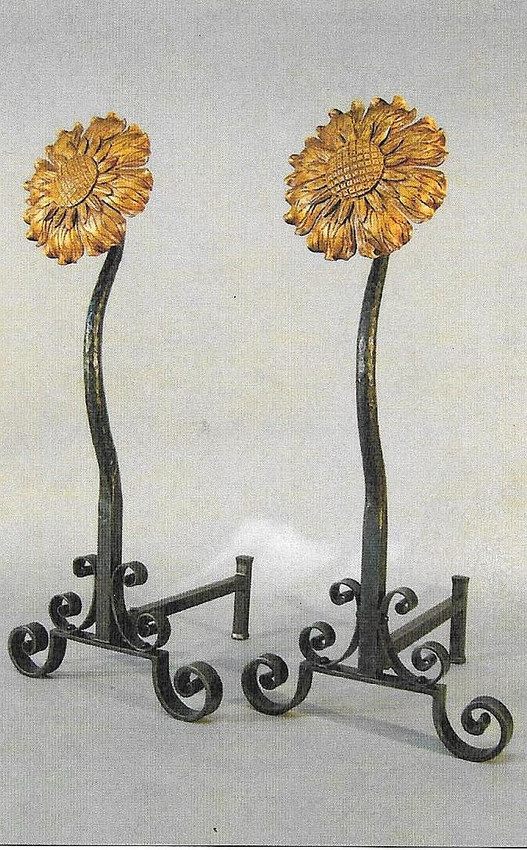 Rustic Cabin Fireplace Accessories Sunflower Andirons