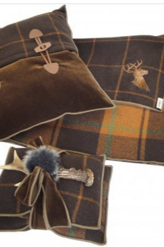 Hampton Brique Plaid Throw & Pillow Set