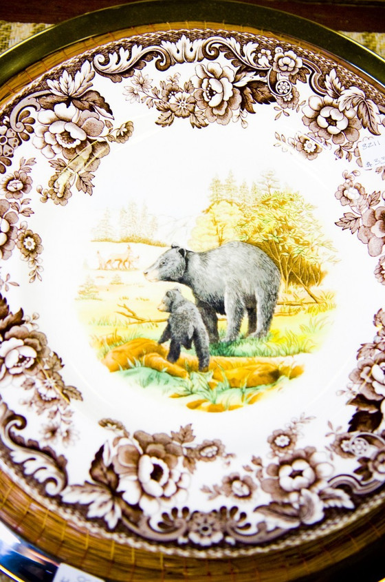 Rustic Dinnerware For Cabins Spode Woodland Bear Plates