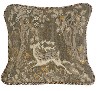 Grey Deer Aubusson Pillow Left-Facing